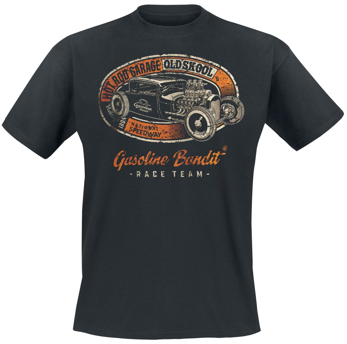 Pedal to The Metal Gasoline Bandit/® Design Biker Rockabilly T-Shirt Hot Rod