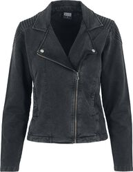 Ladies Acid Wash Terry Biker Jacket