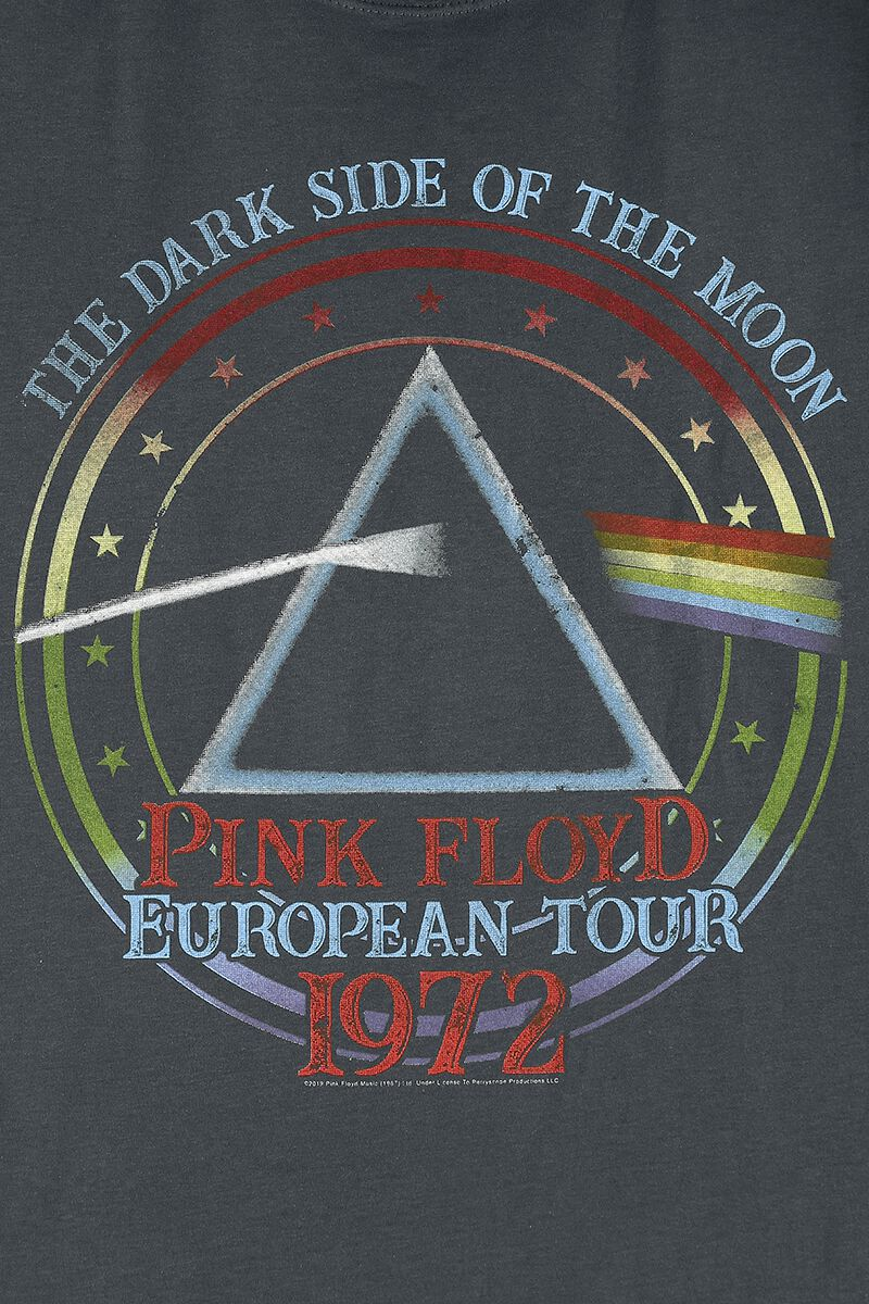 Amplified Charcoal Pink Floyd 1972 Tour T Shirt from
