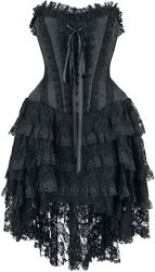 Elaborate Gothic Dress with Corset and Shorter-Front Skirt
