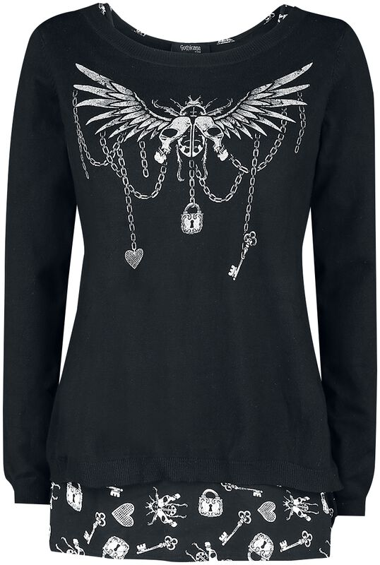 Sweatshirt and Top with Detailed Print