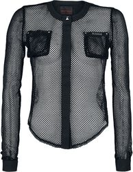 Mesh Blouse with Chest Pockets