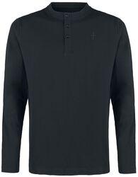 schwarzes Langarmshirt mit Stickerei und  Rundhalsausschnitt