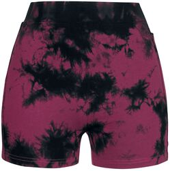 Black/Red Batik Shorts with Side Crochet Detail