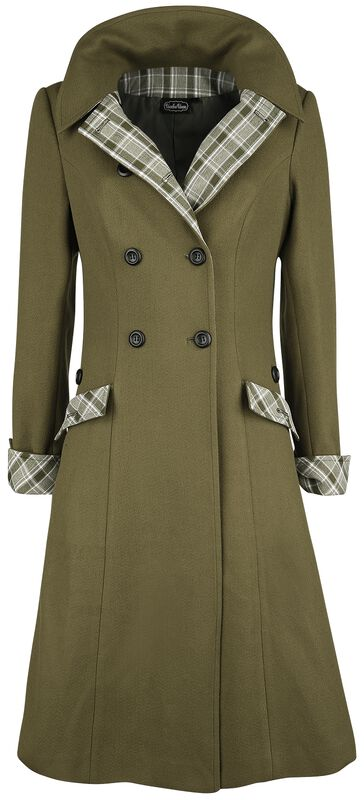 Susie Coat With Button Up Plaid Constrast