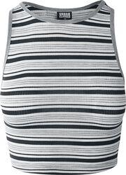 Ladies Rib Stripe Cropped Top
