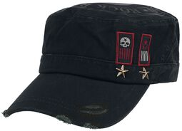 Black Army Cap with Print, Patches and Studs
