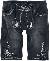 Black Lederhosen-Style Shorts with Embroidered Rockhands and Decoration