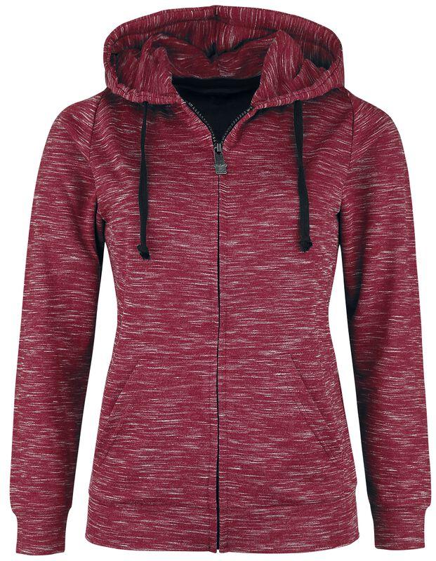 Red mottled hooded jacket