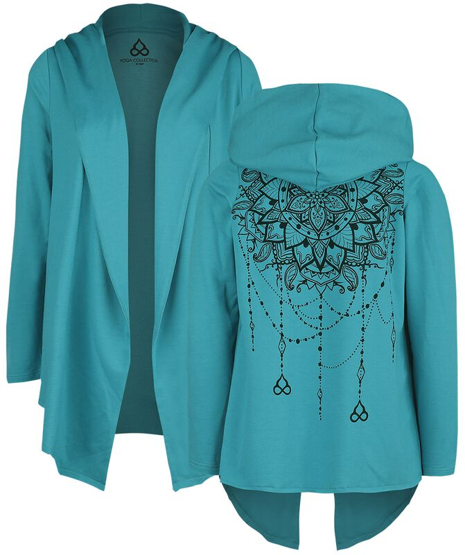 Sport and Yoga - Turquoise Cardigan with Detailed Back Print and Hood