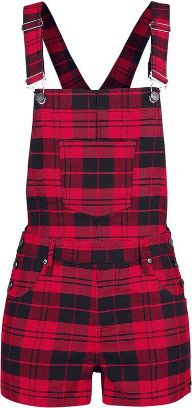 Schwarz/rot karierte Latz-Shorts