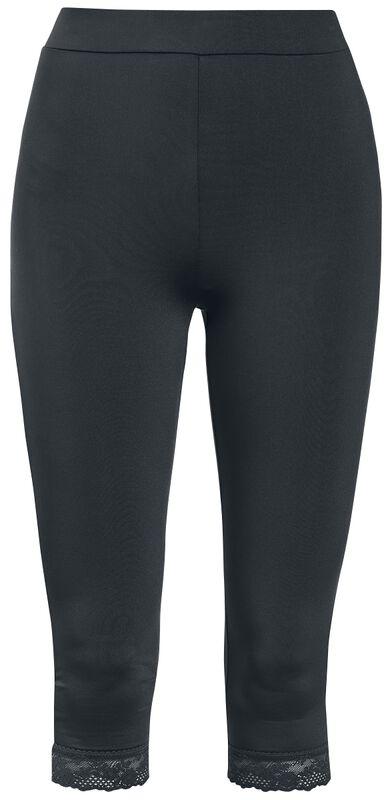 Black 3/4 Leggings with Lace Seam