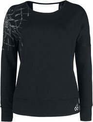 Sport and Yoga - Black Sweatshirt with Detailed Print and Open Back