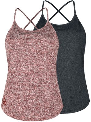 Sport und Yoga - Doppelpack Tops in bordeaux und grau