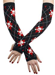 Tartan Arm Warmers With Skulls