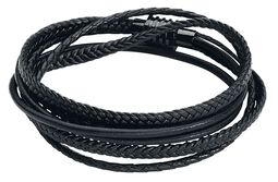 Black Trio Braided Leather Bracelet