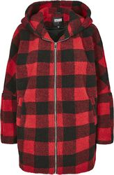 Ladies Hooded Oversized Check Sherpa Jacket