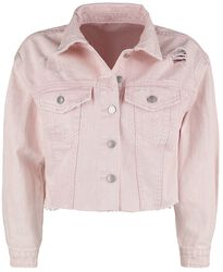 Lilac Denim Jacket with Distressed Effects