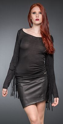 Long-Sleeve Shirt with Fringes and Crosses at Neckline