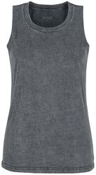 Grey top with custom wash and round neckline
