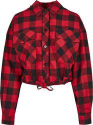 Ladies Short Oversized Check Shirt
