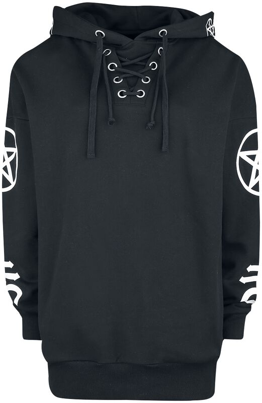 Black hoodie with symbol prints