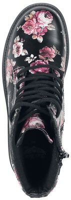 Black Lace-Up Boots with Floral All-Over Print