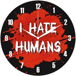 Glass Wall Clock I Hate Humans