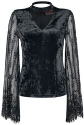 Velvet Top with Full Lace Sleeve