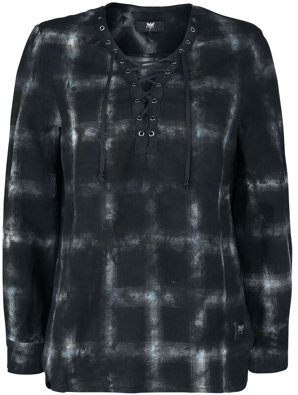 Checked shirt with lacing