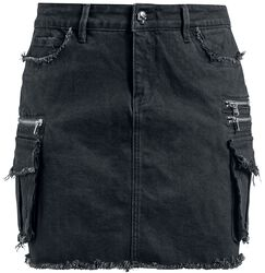 Rock Rebel Black Denim Skirt with Pockets