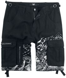 Black Army Shorts with Print