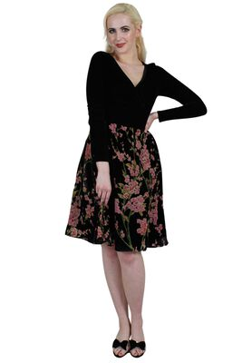 Cheryl Velvet Dress With Chiffon Rose Flocking