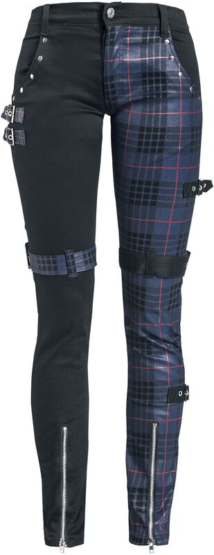 Patterned Trousers with Studs and Straps