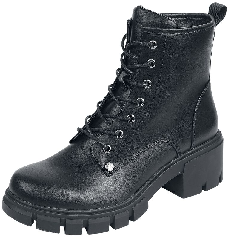Black Lace-Up Boots with Heel and Deep Tread