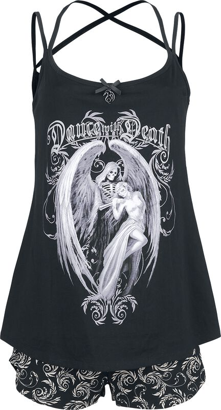 Gothicana X Anne Stokes - Short Black Pyjamas with Print