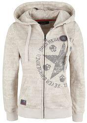 Beige Hooded Jacket with Prints