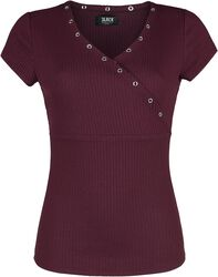 Red T-shirt with Wide V-Neckline
