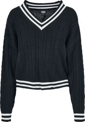 Ladies Short V-Neck College Sweater