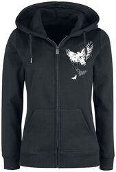 Hooded Jacket with Raven Prints