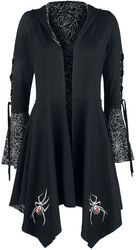 Gothicana X Anne Stokes - Black Cardigan with Hood, Lacing and Flared Sleeves