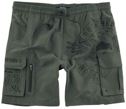Olive-Coloured Swim Shorts with Prints and Pockets