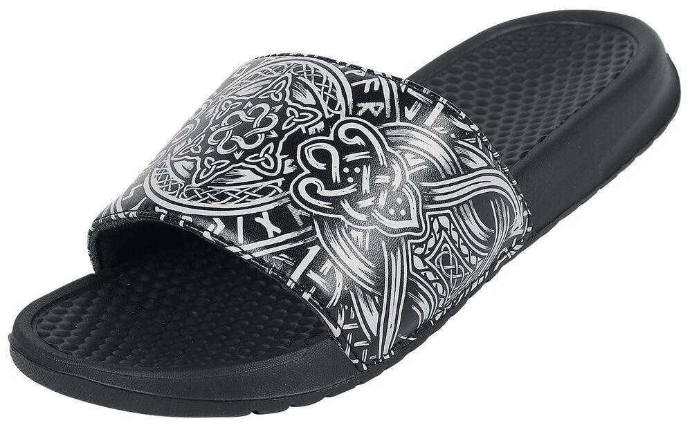 Black Slip-On Sandals with Celtic-Style Motif