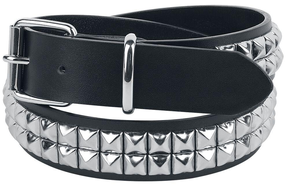 Black Two-Row Studded Belt