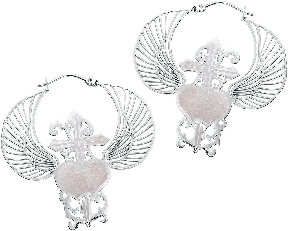 Winged Heart Dagger Hoops Pairs