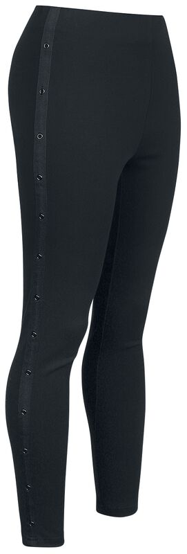 Black Jeggings with Side Stripe and Eyelets