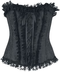 Black Lace Corset with Brocade Pattern