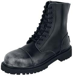 Schwarze 9-Loch Boots im Used-Look