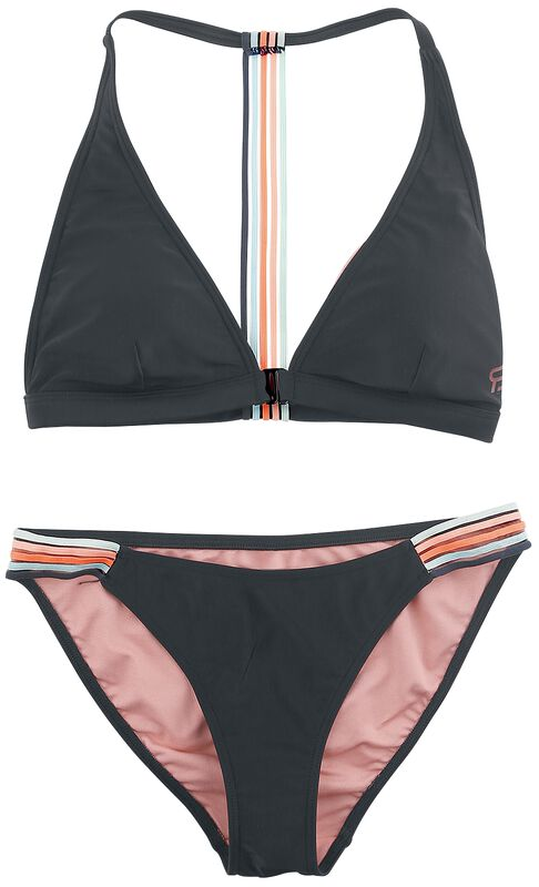 RED X CHIEMSEE - black bikini with colourful stripes