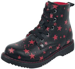 Black Lace-Up Boots with Stars